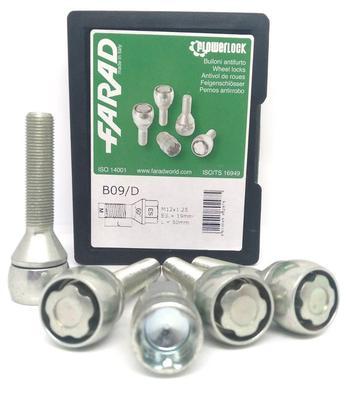 Купить Секретки Farad B09/D-1CH Болт 12x1,25 50мм. Конус - Ключ 19 - Вращающееся кольцо